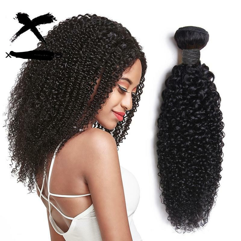 "Kinky Curly Bundles 100% Human Hair Weaves Peruvian Curly Hair Extensions Non-Remy 8""-26"" 1/3/4 Pcs Bundles Deals Natural Color"