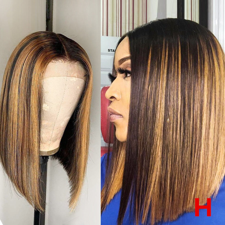 "150% 13*6 Deep Part High Ratio Lace Front Human Hair Wig Straight Bob Highlight Pre Plucked Brazilian Remy Hair 8""-16"