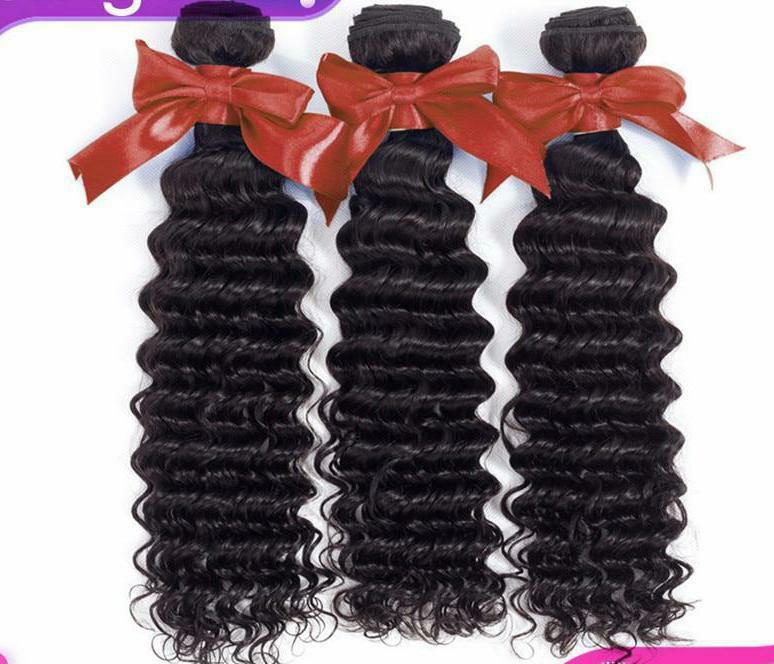 Remy Brazilian Hair Weave Bundles Deep Wave Bundles 100% Human Hair Extension 8-28 Inch Natural Color 1/5/10 Piece