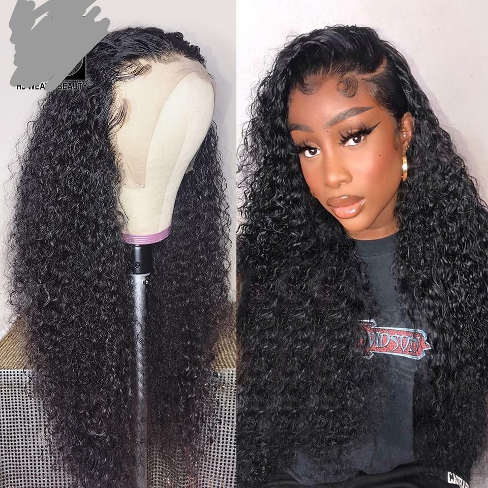 Curly Human Hair Wig Brazilian PrePlucked With Baby Hair Lace Front Human Hair Wigs For Black Women Deep Wave Wig