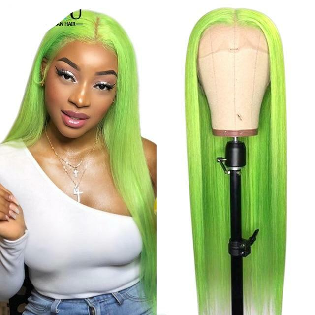Colored Human Hair Wig 13X4/6 Brazilian Remy Ombre Blonde 1B 613 Pink Green Blue Purple Colored Wig with Dark Roots