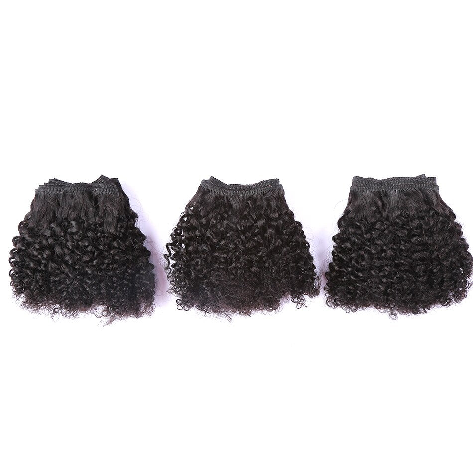 100% Human Hair Weaving Jerry Curl 8inch  6 Bundles For Black Women