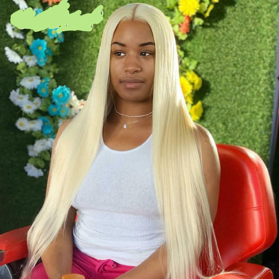 8-42 Inch Blonde Long Hair Full Lace Wig Brazilian Straight Wig Pre Plucked Glueless