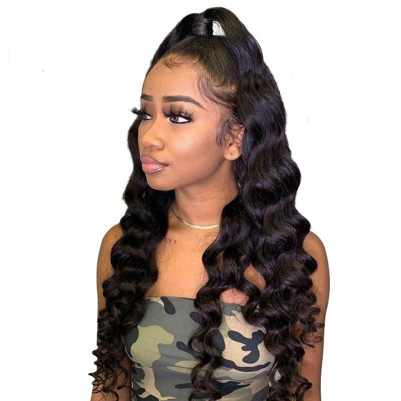 Brazilian Loose Wave Lace Front Wig 8 - 28 Inch Transparent Natural Color Human Hair Wig with Bangs for Black Women