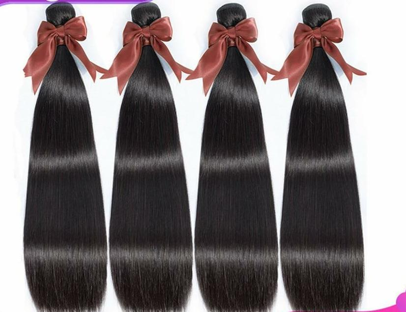 Brazilian Straight Hair Weave Bundles 100% Remy Human Hair Extensions Machine Double Weft Natural Color 8-30 Inch