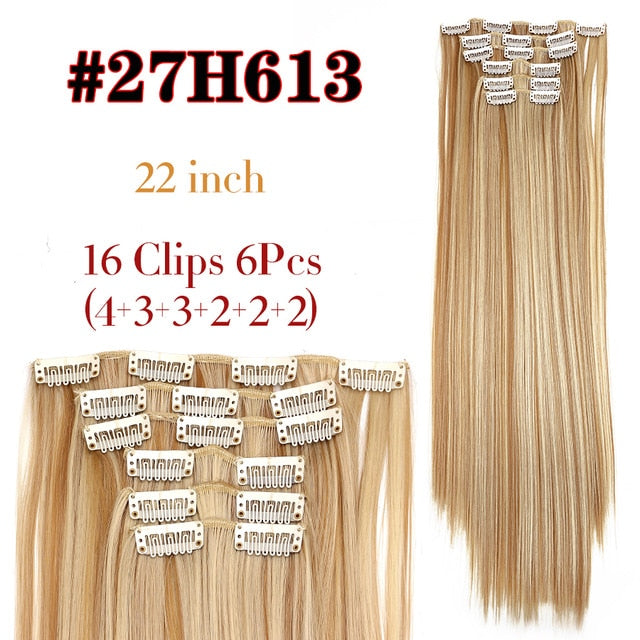 "6Pcs/Set 22"" Hairpiece 140G Straight 16 Clips In False Styling Hair Synthetic Clip In Hair Extensions Heat Resistant"