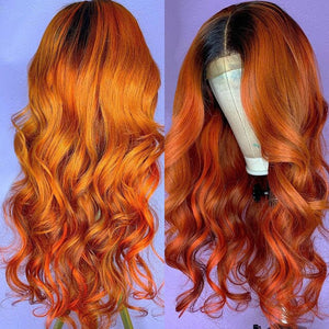 Ombre Ginger Orange Colored Lace Front Human Hair Wigs 13*4 Brazilian Remy Hair Pre Plucked 1B Orange Loose Wave Wig for Women