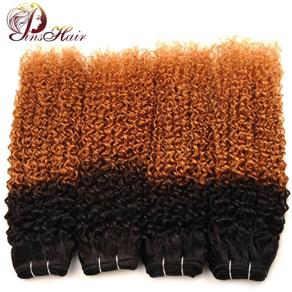 Ombre Jerry Curly Human Hair 4 Bundles Deals 1B 30 Ombre Brown Color Indian Hair Weave Extensions Non Remy No Shedding
