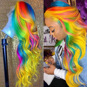 24 inch Amazing Rainbow Color Lace Front Human Hair Wigs Pre Plucked Brazilian Remy Transparent Lace Wigs