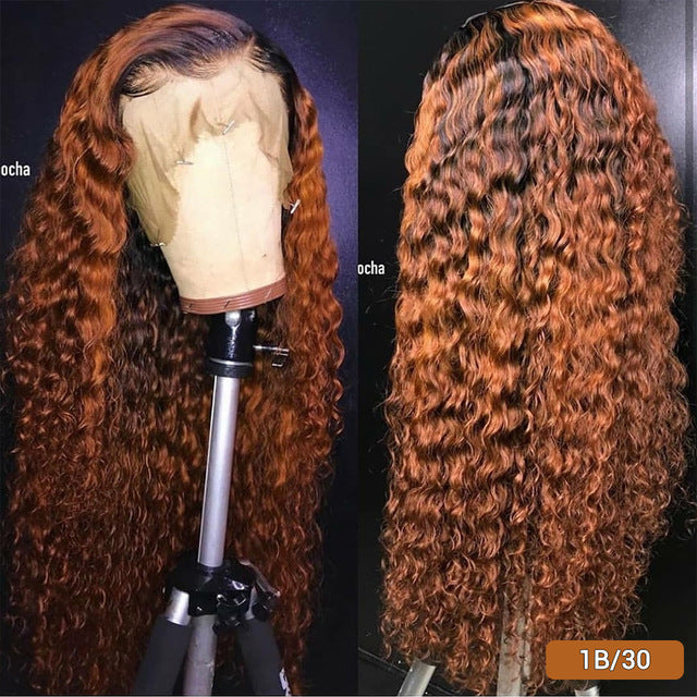 "13x4 Deep Curly Lace Wig  Brazilian Ombre Human Hair Wigs Burgundy Red Ginger Wig Honey Blonde 8""-26"