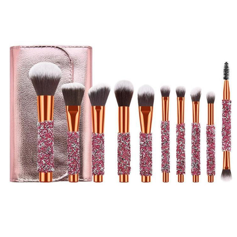 10pcs/set  Diamond Makeup Brush  For Cosmetic Foundation Powder Blush Eyeshadow Kabuki Blending Make Up Brush Beauty Tool