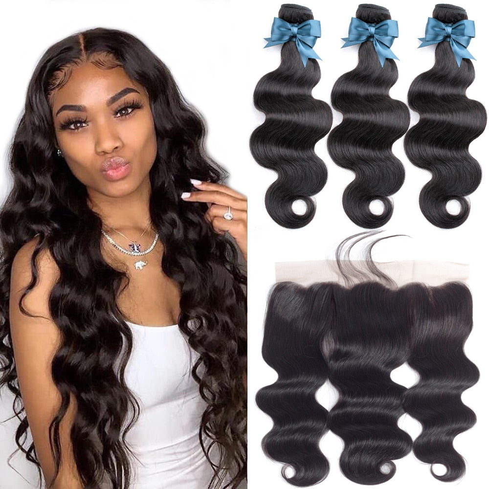 Body Wave Bundles with Frontal Brazilian Hair Weave Bundles with Closure Remy Human Hair Extensions Kiss Love