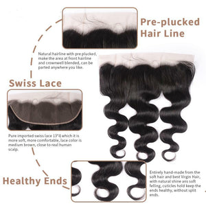 Body Wave Bundles With Closure Brazilian Hair Bundles With Frontal Human Hair Frontal With Bundle Hair Extension