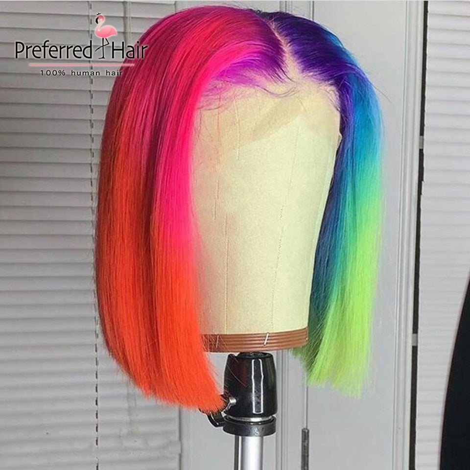 Brazilian Remy Rainbow Wig Green Purple Blue Highlight Wig Short Bob Wig Ombre Lace Front Human Hair Wigs