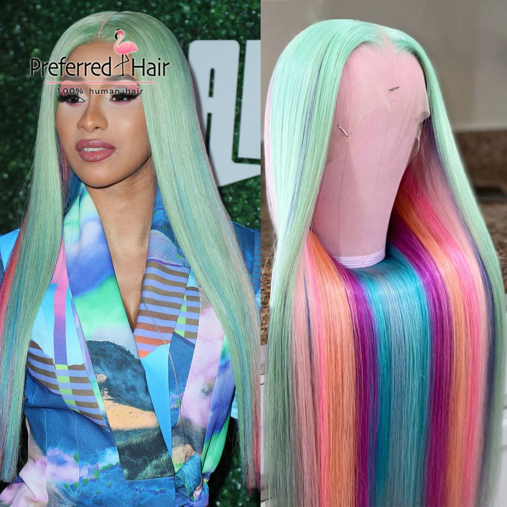 Rainbow Straight Highlight Wig Colored Full Lace Wig Preplucked Brazilian Remy Lace Front Human Hair Wigs