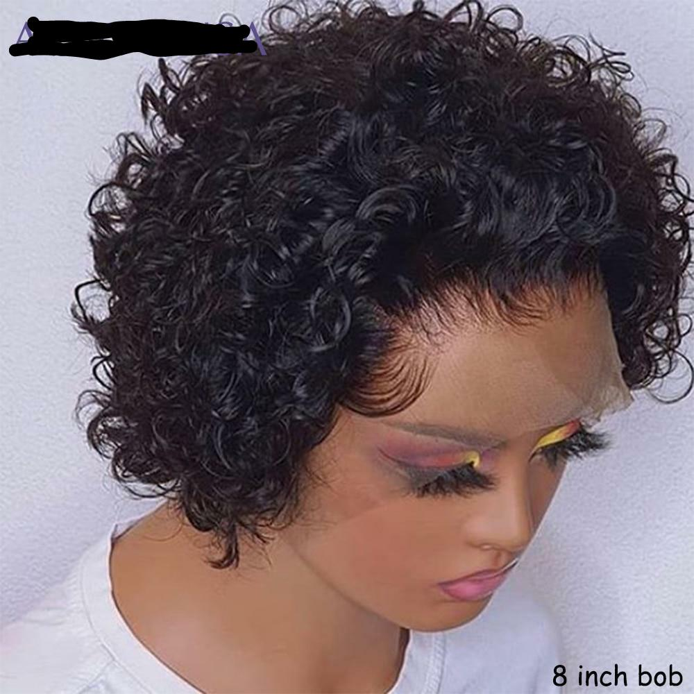 Short Pixie Cut Wig Short Bob 150% 13*4  Lace Front Human Hair Wig Pre Plucked With Baby Hair