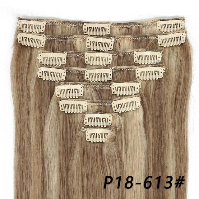 MRSHAIR Clip In Human Hair Extensions Straight 8pc Set Machine Remy Clip Ins Full Hair Brazilian Hair Blonde Clip 14 16 18 20 22