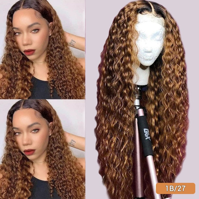 Orange Ginger Lace Front Wig Deep Curly Middle Part Lace Wig Colored Human Hair Wigs Orange Ginger Ombre 1b 30 Blonde Lace Wig