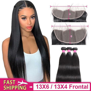 13x6 Frontal with Bundles Malaysiand Straight Hair bundles with Frontal Non remy 13X4 Frontal with bundles Human hair