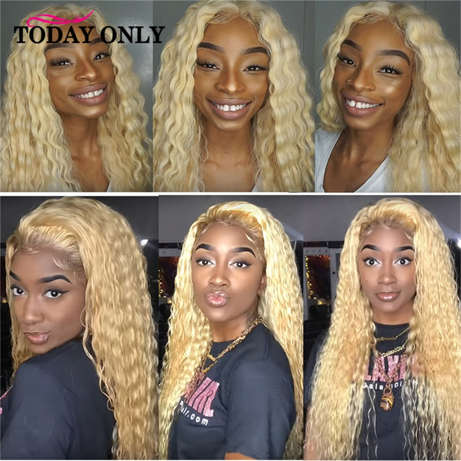 Kinky Curly Human Hair Wig 613 Blonde Ombre Lace Front Human Hair Wigs For Women Brazilian Remy 1b/27 180 250 Density Lace Wig