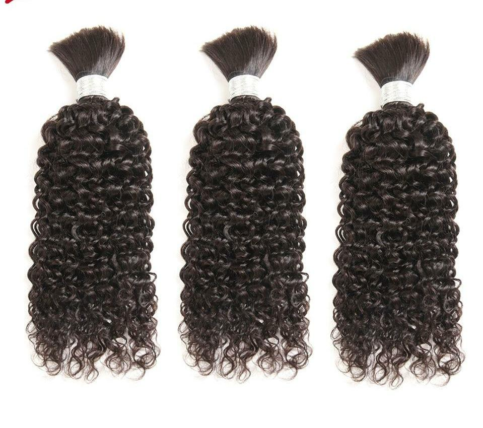 Remy Human Hair Indian Kinky Curly Bundles Hair For Braiding In Natural Color 8 To30 Inch Crochet Braids No Weft Hair Bulk