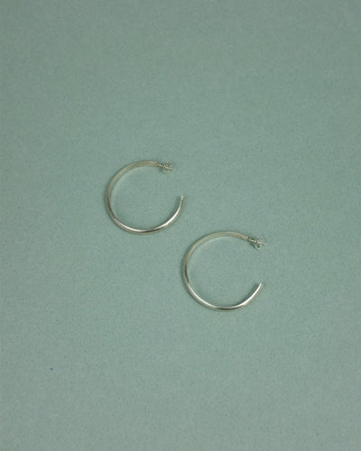 AL-MA JEWELLERY Flat Hoop Earrings - Silver