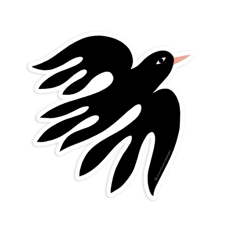 Black Bird Die Cut Sticker - Gift