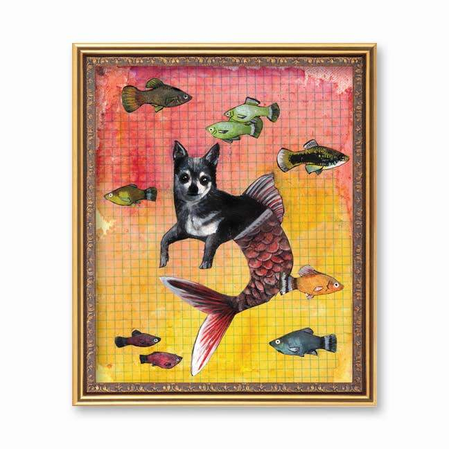 Chihuahua Mermaid - 8 x 10 Art Print - Poster