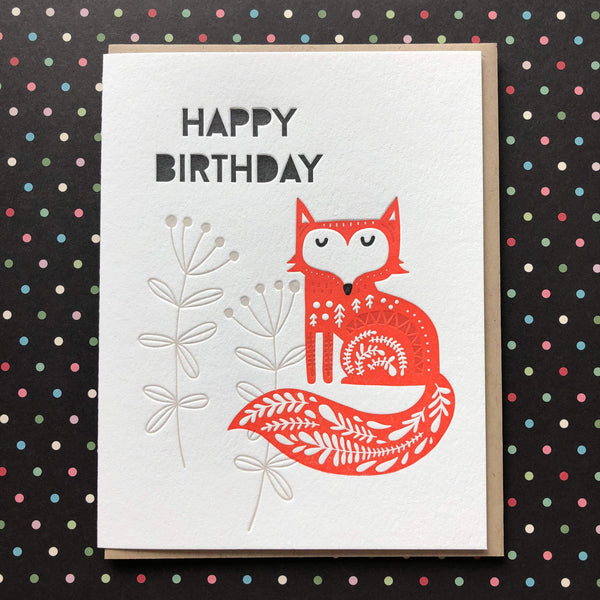 Happy Birthday Fancy Fox - Card