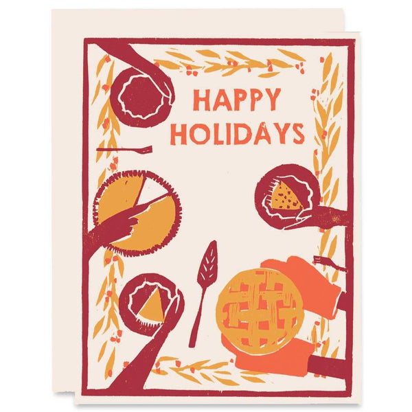 Happy Holidays Pie Feast Winter Holidays Card - Single -