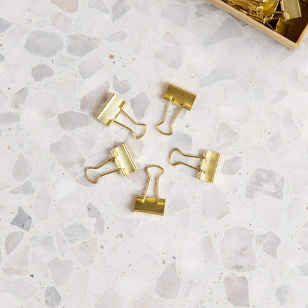 Mini Gold Binder Clips - Set of 40 - Writing and