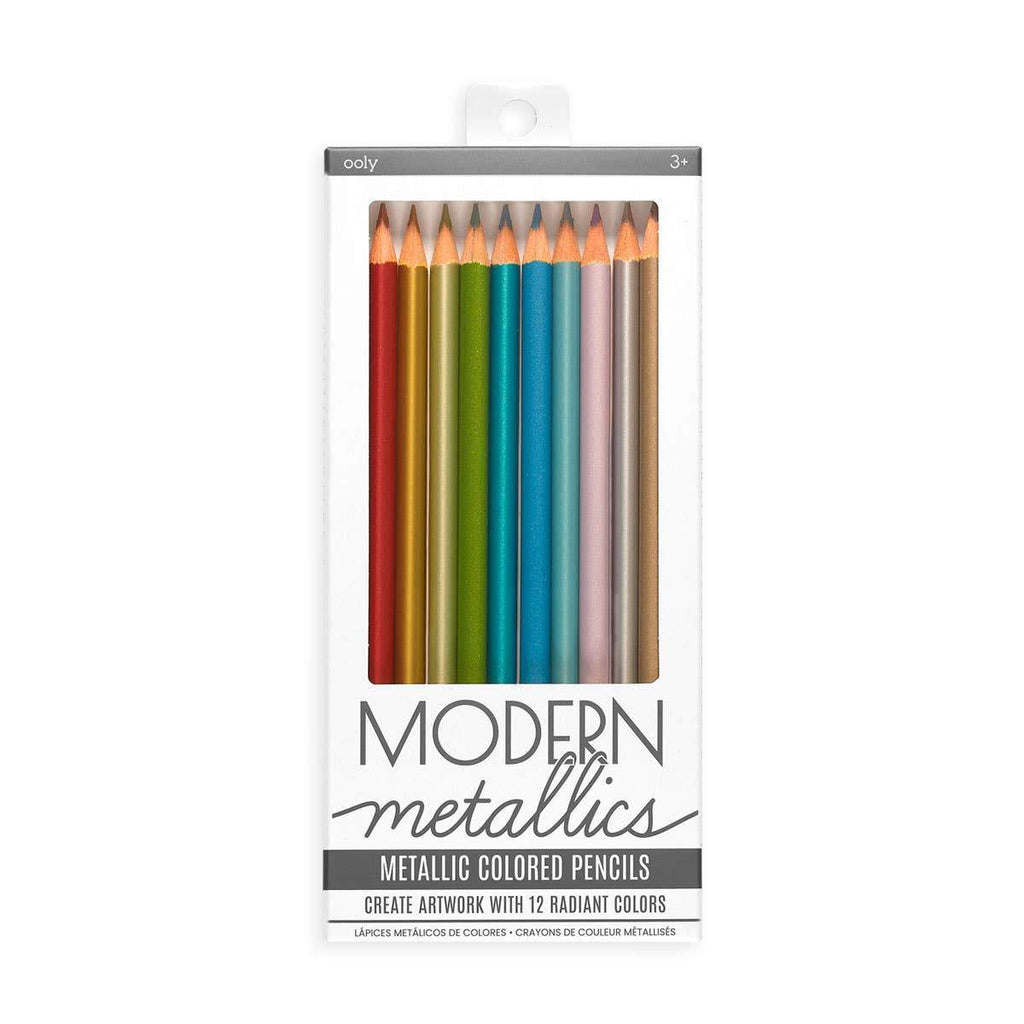 Modern Metallics Colored Pencils - Set of 12 - Gift