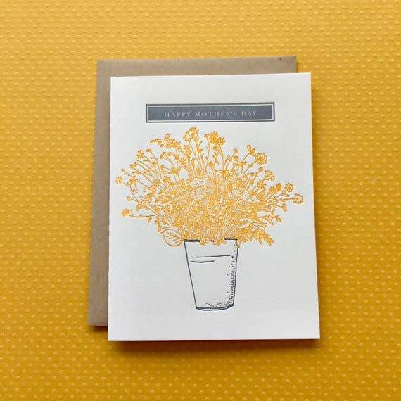 Mother's Day Bucket Flowers - letterpress card - Card