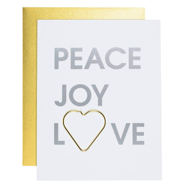 Peace Joy Love Letterpress Card with Heart Paper Clip - Card