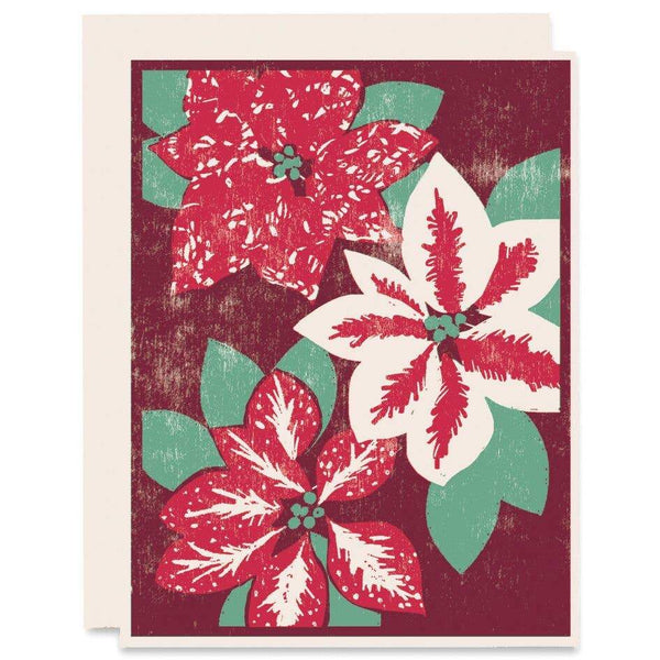 Poinsettias Holiday Card - Single - Card