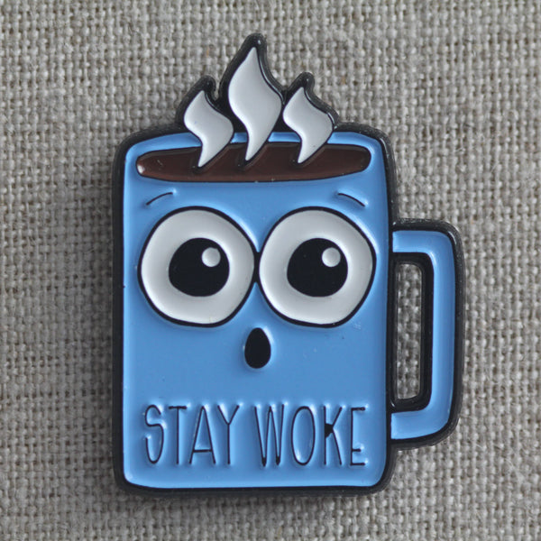 Punny Stay Woke Coffee Soft Enamel Pin - Gift