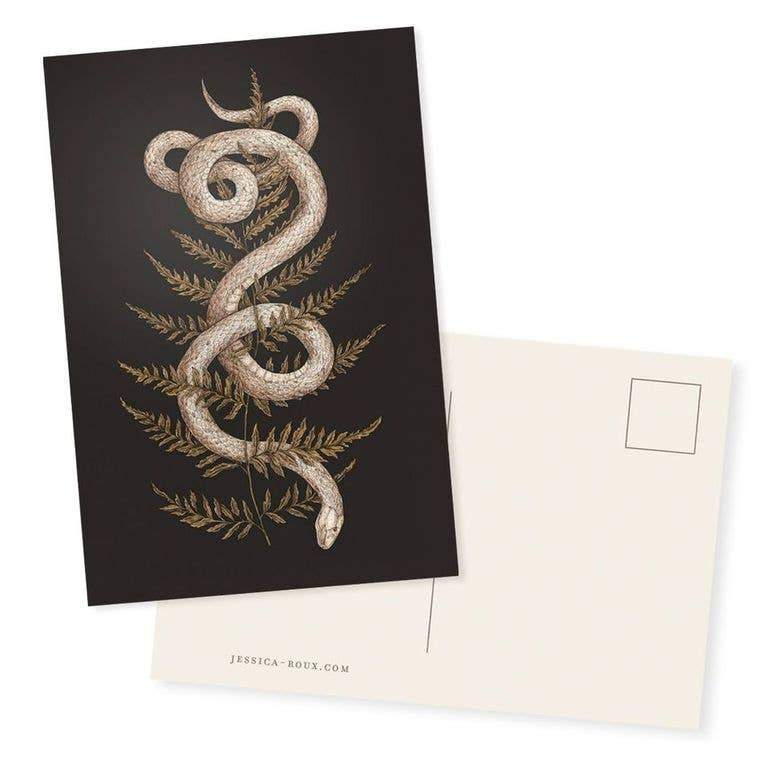 "Snake and Fern Postcard - 4"" x 6"" - Writing and"