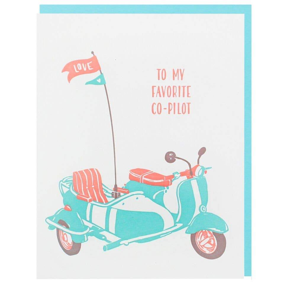 Vespa and Sidecar Anniversary Card - Single - Card