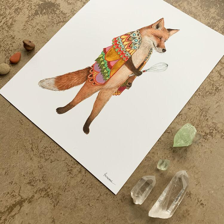 Woodland Kitchen: Frank the Whisking Fox Print - 8 x 10 - Angled View