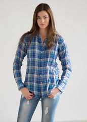 #11W Sagaponack Blue Multi Plaid Women's Shirt