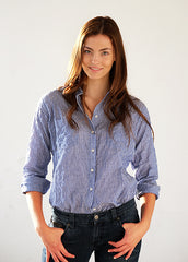 #42W Sagaponack Blue Rows Shirt