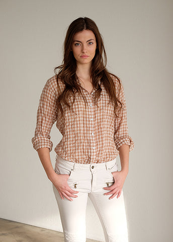 "#45W Sagaponack Tan & White 1/4"" Check Women's Shirt"