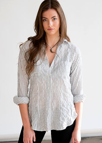 #71W Sagaponack 1-2-1 Grey Stripe Women's Shirt