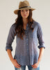 #72W Sagaponack Blue Mini Plaid Women's Shirt