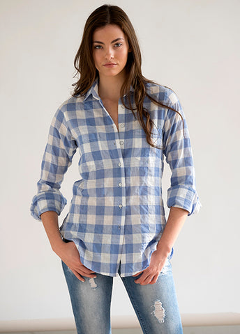 "#73W Sagaponack 1"" Light Blue Check Women's Shirt"