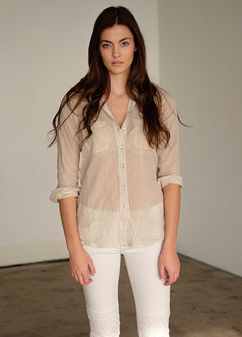 #78W Sagaponack Beige Mini Plaid Women's Shirt