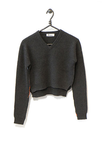 Cotton Cashmere Sweater Cropped - Charcoal
