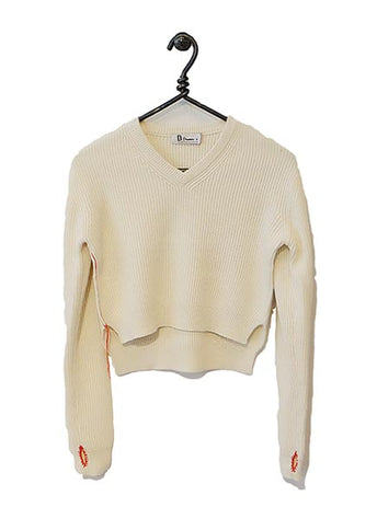 Cotton Cashmere Sweater Cropped - Cream