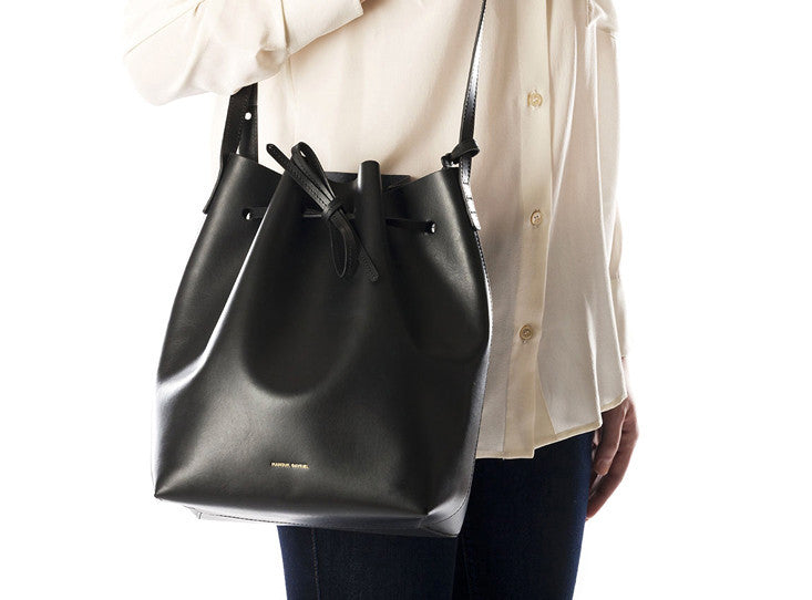 Pre-ORDER ONLY  FOR DELIVERY END OF JULY:BLACK BUCKET BAG WITH black raw interior - MANSUR GAVRIEL