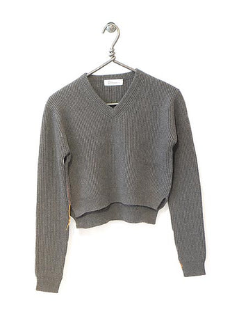 Cotton Cashmere Sweater Cropped - Fog